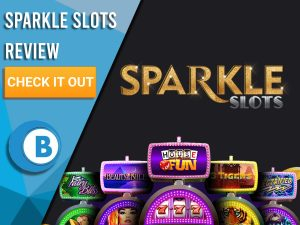 """Black Background with slot machines and Sparkle Slots logo. Blue/white square to left with text """"Sparkle Slots Review"""", CTA and Boomtown Bingo logo."""