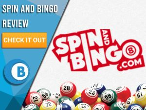 """White background with bingo balls and Spin and Bingo Logo. Blue/white square with text to left """"Spin and Bingo Review"""", CTA below and Boomtown Bingo logo."""