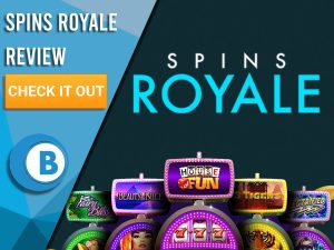"Black Background with slot machines and Spins Royale logo. Blue/white square to left with text ""Spins Royale Review"", CTA and Boomtown Bingo logo."