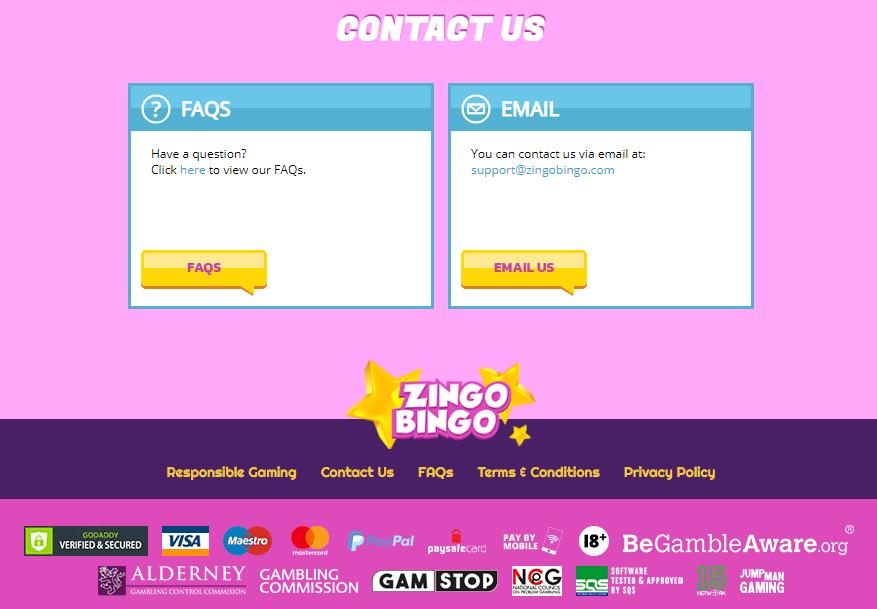 Zingo Bingo Contact Page