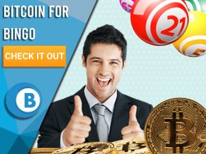 """Light Blue background with man with thumbs up, Bitcoin and Bingo Balls. Blue/white square with text to left """"Bitcoin for Bingo"""", CTA below and Boomtown Bingo logo beneath."""
