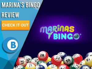 "Dark purple background with bingo balls and Marina's Bingo logo. Blue/white square to left with text ""Marina's Bingo Review"", CTA below and Boomtown Bingo logo."