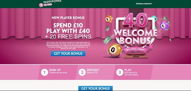Paddy Power Bingo Review – Spend £10 Play with £40 + 20 FREE Spins
