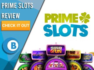 """White Background with slot machines and Prime Slots logo. Blue/white square to left with text """"Prime Slots Review"""", CTA and Boomtown Bingo logo."""