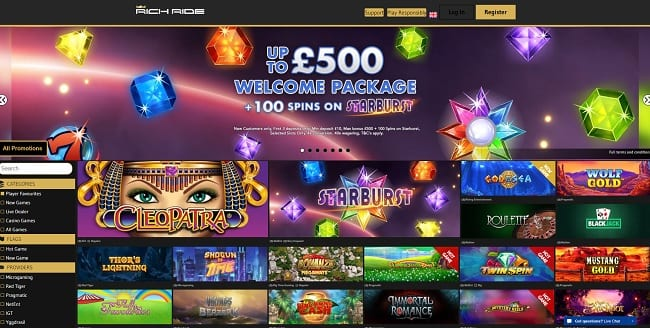 Rich Ride Casino Review – £500 Welcome Bonus + 100 FREE Spins
