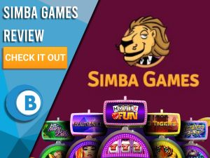 "Maroon Background with slot machines and Simba slots logo. Blue/white square to left with text ""Simba Games Review"", CTA and Boomtown Bingo logo."