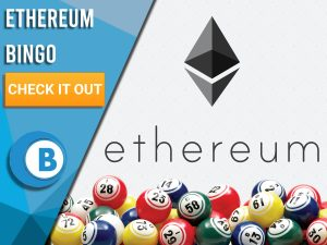 "White Background with bingo balls and Ethereum logo. Blue/white square with text to left ""Ethereum Bingo"", CTA below and Boomtown Bingo Logo beneath."