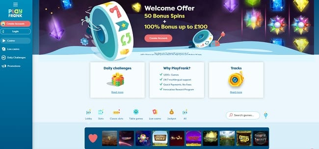 Play Frank Casino Review – 100% Bonus up to £100 + 50 FREE Spins