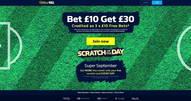 William Hill Sports Book Offers – Bet £10 Get £30