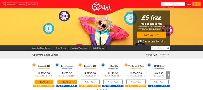 32 Red Bingo Review – Claim £5 No Deposit Needed