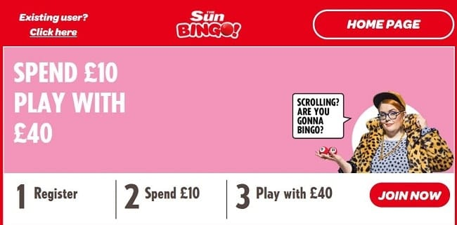 Sun Bingo Review – Deposit £10 Play with £40 + 30 Free Spins