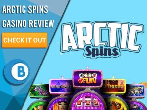 """Blue background with slot machines and Arctic Spins logo. Blue/white square to left with text """"Arctic Spins Casino Review"""", CTA below and Boomtown Bingo logo."""