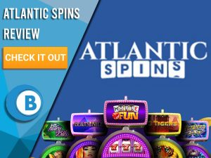 """Blue background with Slot Machines and Atlantic Spins logo. Blue/white square to left with text """"Atlantic Spins Review"""", CTA below and Boomtown Bingo logo."""