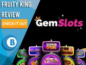"Black background with slot machines and Gem Slots Logo. Blue/white square to left with text ""Gem Slots Review"", CTA below and Boomtown Bingo logo."