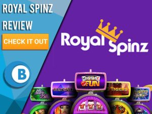 """Purple background with slot machines and Royal Spinz logo. Blue/white square to left with text """"Royal Spinz Review"""", CTA below and Boomtown Bingo logo."""