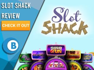 "Blue Background with slot machines and Slot shack logo. Blue/white square to left with text ""Slot Shack Review"", CTA and Boomtown Bingo logo."