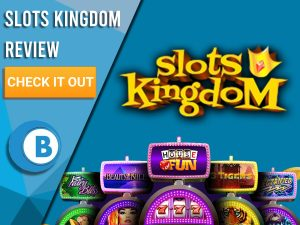 "Blue Background with slot machines and Slots Kingdom logo. Blue/white square to left with text ""Slots Kingdom Review"", CTA and Boomtown Bingo logo."