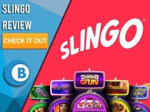 """Pink Background with slot machines and Slingo slots logo. Blue/white square to left with text """"Slingo Review"""", CTA and Boomtown Bingo logo."""