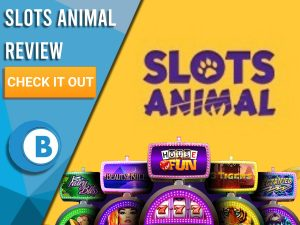 """Yellow Background with slot machines and Slots Animal logo. Blue/white square to left with text """"Slots Animal Review"""", CTA and Boomtown Bingo logo."""