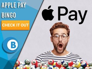 """Violet background with bingo balls, surprised man and Apple Pay logo. Blue/white square with text to left """"Apple Pay Bingo"""", CTA below and BoomtownBingo logo beneath that."""