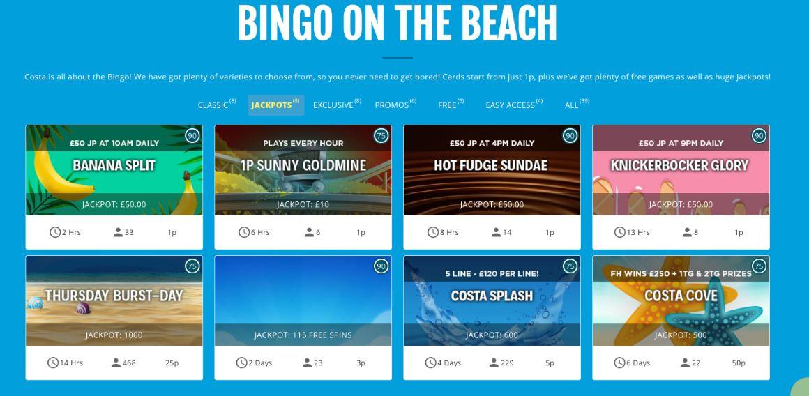 Costa Bingo Progressive Jackpots