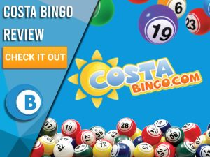 "Blue background with bingo balls and Costa Bingo logo. Blue/white square with text to left ""Costa Bingo Review"", CTA below and Boomtown Bingo logo beneath."