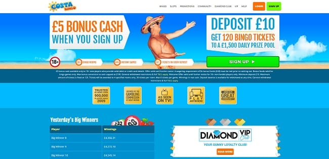 Costa Bingo Review – £5 Free No Deposit Bonus