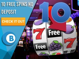 """Background of casino with slots symbol and the number 10. Blue/white square with text """"10 Free Spins No Deposit"""", CTA below and BoomtownBingo logo under it."""