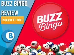 """Red background with bingo balls and Buzz Bingo logo. Blue/white square to left with text """"Buzz Bingo Review"""", CTA below and Boomtown Bingo logo."""