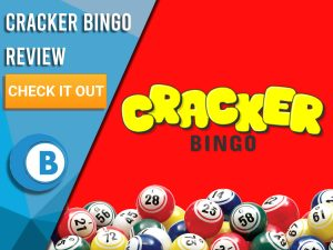 """Red background with bingo balls and Cracker Bingo logo. Blue/white square with text to left """"Cracker Bingo Review"""", CTA below and Boomtown Bingo logo."""