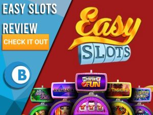 "Red background with slot machines and Easy Slots logo. Blue/white square to left with text ""Easy Slots Review"", CTA below and Boomtown Bingo."