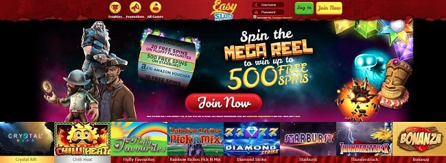 Easy Slots – Up to 500 Free Spins Bonus