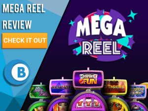 "Black background with slot machines and Mega Reel logo. Blue/white square to left with text ""Mega Reel Review"", CTA below and Boomtown Bingo logo."