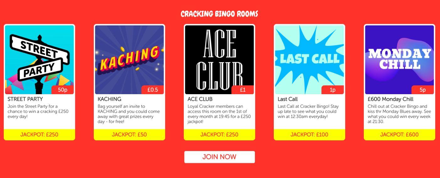 crackers bingo rooms