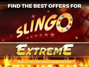 Background is a fire, landscape with a steel rectangle above some flames. The logo for Slingo Extreme can be seen in the middle and on the steel rectangle.