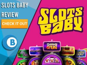 "Pink Background with slot machines and Slots Baby logo. Blue/white square to left with text ""Slots Baby Review"", CTA and Boomtown Bingo logo."