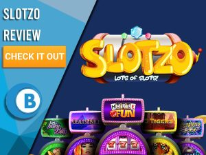 """Blue Background with slot machines and Slotzo logo. Blue/white square to left with text """"Slotzo Review"""", CTA and Boomtown Bingo logo."""