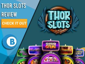 """Navy Background with slot machines and Thor Slots logo. Blue/white square to left with text """"Thor Slots Review"""", CTA and Boomtown Bingo logo."""
