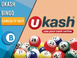 "Orange background with Bingo Balls and UKash logo. Blue/white square with text to left ""UKash Bingo"", CTA below and Boomtown Bingo logo beneath."
