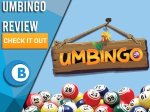 "Blue background with bingo balls and Umbingo logo. Blue/white square to left with text ""Umbingo Review"", CTA below and Boomtown Bingo logo."