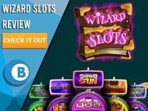"""Dark Grey Background with slot machines and Wizard Slots logo. Blue/white square to left with text """"Wizard Slots Review"""", CTA and Boomtown Bingo logo."""