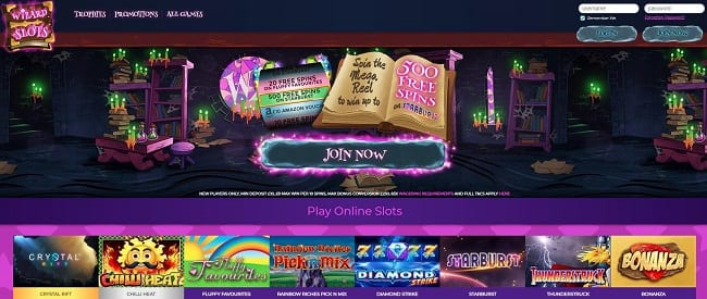 Wizard Slots – Up to 500 Free Spins