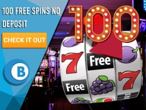 """Background of casino with slots symbol and the number 100. Blue/white square with text """"100 Free Spins No Deposit"""", CTA below and BoomtownBingo logo under it."""