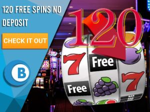 "Background of casino with slots symbol and the number 120. Blue/white square with text ""120 Free Spins No Deposit"", CTA below and BoomtownBingo logo under it."
