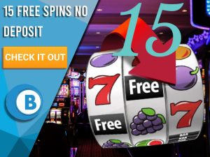 "Background of casino with slots symbol and the number 15. Blue/white square with text ""15 Free Spins No Deposit"", CTA below and BoomtownBingo logo under it."