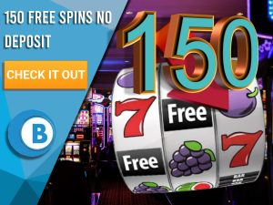 """Background of casino with slots symbol and the number 150. Blue/white square with text """"150 Free Spins No Deposit"""", CTA below and BoomtownBingo logo under it."""