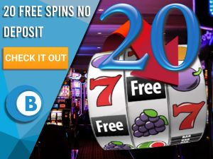 """Background of casino with slots symbol and the number 20. Blue/white square with text """"20 Free Spins No Deposit"""", CTA below and BoomtownBingo logo under it."""