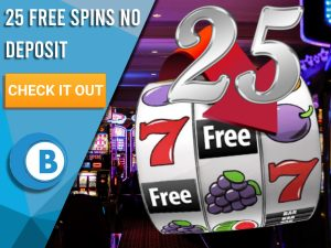 """Background of casino with slots symbol and the number 25. Blue/white square with text """"25 Free Spins No Deposit"""", CTA below and BoomtownBingo logo under it."""