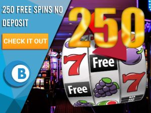 """Background of casino with slots symbol and the number 250. Blue/white square with text """"250 Free Spins No Deposit"""", CTA below and BoomtownBingo logo under it."""
