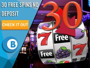 "Background of casino with slots symbol and the number 30. Blue/white square with text ""30 Free Spins No Deposit"", CTA below and BoomtownBingo logo under it."